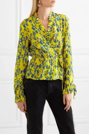 Taia ruffled floral-print crepe de chine wrap blouse by Preen Line at Net A Porter