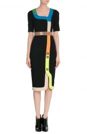 Tailored Dress with Multicolored Trim and Stud Embellishment at Stylebop