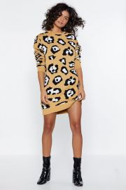 Take Meow-t Leopard Sweater Dress at Nasty Gal