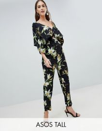 Tall Jumpsuit With Kimono Sleeve And Peg Leg In Lily Print at Asos