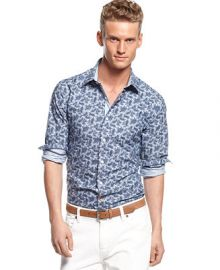 Tallia Orange Blue Paisley Shirt - Casual Button-Down Shirts - Men - Macys at Macys