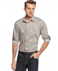 Tallia Orange Long Sleeve Multi Paisley Slim Fit Shirt - Casual Button-Down Shirts - Men - Macys at Macys