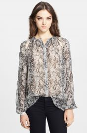 Tamara Mellon Cutout Detail Silk Georgette Peasant Blouse at Nordstrom