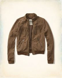 Tan Faux Suede Fringe Moto Bomber by Hollister at Hollister