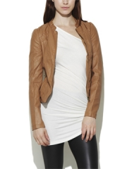 Tan leather jacket at Arden B