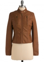 Tan leather style jacket at Modcloth