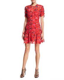 Tanya Taylor Carti Floral Ruched Short Flounce Dress at Neiman Marcus