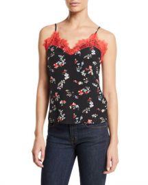 Tanya Taylor Gia Floral-Print Lace Cami Top at Neiman Marcus