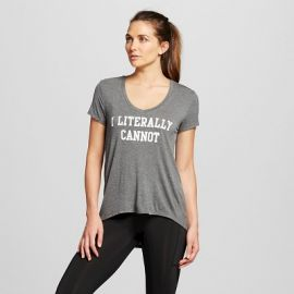 Target I Literally Cannot V-Neck Drapey Graphic Tee Charcoal Grey at Target