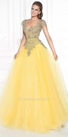 Tarik Ediz Alloy Evening Dress in Yellow at eDressMe