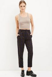 Tartan Plaid Trousers in Dark Navy at Forever 21