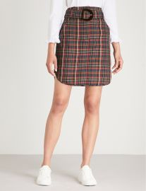 Tartan-print woven skirt sandro at Selfridges