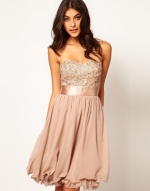 Taupe sequinned dress at Asos