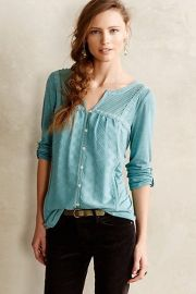 Tavia Peasant Top in Blue at Anthropologie