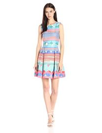 Taylor Dresses  Stripes and Circle Printed Stretch Fit-and-Flare Dress at Amazon