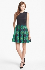 Taylor Dresses Mixed Media Fit andamp Flare Dress at Nordstrom