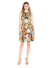 Taylor Dresses Vintage Floral Ottoman Fit and Flare Split Shoulder Detail at Amazon
