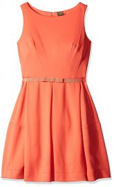 Taylor Dresses Women s Sleeveless Scuba Fit and Flare Dress orange at Amazon