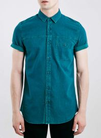 Teal Denim Shirt at Topman