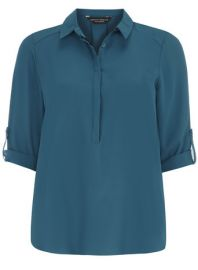 Teal Half Placket Blouse at Dorothy Perkins
