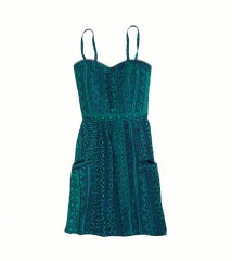 Teal and navy print dress at American Eagle