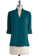 Teal button front shirt at ModCloth at Modcloth