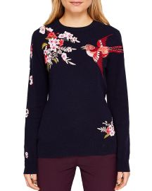 Ted Baker Auroraa Bird Blossom Embroidered Sweater  at Bloomingdales