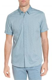 Ted Baker London Narnar Trim Fit Geo Print Camp Shirt in Blue at Nordstrom