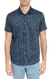 Ted Baker London Tern Geo Print Sport Shirt in Navy at Nordstrom