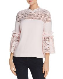 Ted Baker Poppyy Lace-Inset Top in pink at Bloomingdales