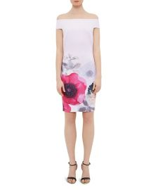 Ted Baker Wiyea Neon Poppy Off-the-Shoulder Dress at Bloomingdales
