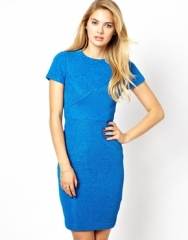 Ted Baker  Ted Baker Bodycon Dress in Textured Fabric with Short Sleeves at Asos