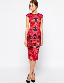 Ted Baker  Ted Baker Dress Midi Dress in Jungle Orchid Print at Asos