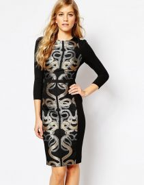 Ted Baker  Ted Baker Malicia Snake Jacquard Panel Dress at Asos