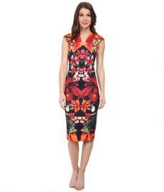 Ted Baker Bismii Tropical Toucan Cap Sleeve Dress Black at 6pm