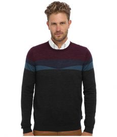Ted Baker Farlie Merino Geo LS Crew Neck Sweater Charcoal at Zappos