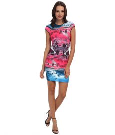 Ted Baker Ismay Road To Nowhere Print Dress Mid Pink at Zappos