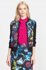 Ted Baker London  Deia  Floral Print Mixed Media Cardigan at Nordstrom