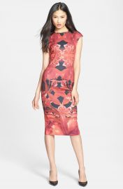 Ted Baker London  Jungle Orchid  Print Neoprene Midi Dress at Nordstrom