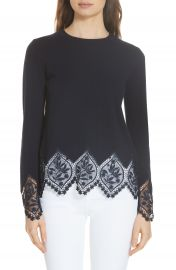Ted Baker London Aylex Lace Detail Wool Cashmere Blend Sweater   Nordstrom at Nordstrom