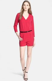 Ted Baker London Belted Blouson Romper in Red at Nordstrom