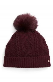 Ted Baker London Cable Knit Faux Fur Pompom Beanie at Nordstrom