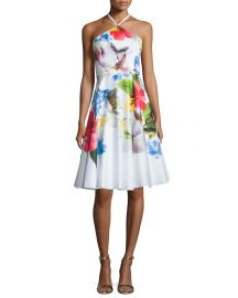 Ted Baker London Corpina Floral Sleeveless Halter Dress  White at Neiman Marcus