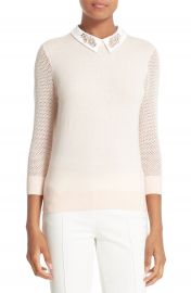 Ted Baker London Embellished Collar Mesh Sleeve Sweater at Nordstrom
