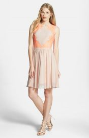 Ted Baker London Lace Trimmed Chiffon Dress at Nordstrom