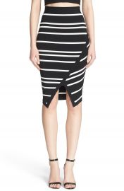 Ted Baker London Petulia Stripe Faux Wrap Midi Skirt at Nordstrom
