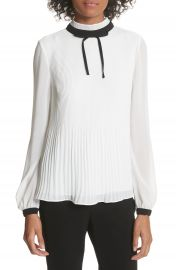 Ted Baker London Pleated High Neck Chiffon Top at Nordstrom
