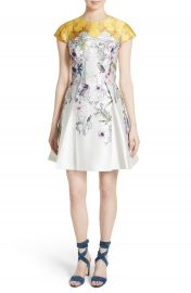 Ted Baker London Reliat Passion Flower Cap Sleeve Dress at Nordstrom
