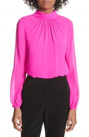 Ted Baker London Ruched Silk High Neck Blouse at Nordstrom