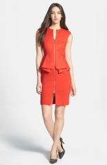 Ted Baker London Structured Peplum Cotton Blend Sheath Dress at Nordstrom